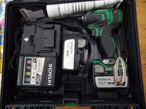 津山店です。 津山市のお客様から、日立工機 インパクトドライバ 14V3.0Ah WH14DDL 2 HITACHI バッテリー2個付きを買取らせて頂きました。